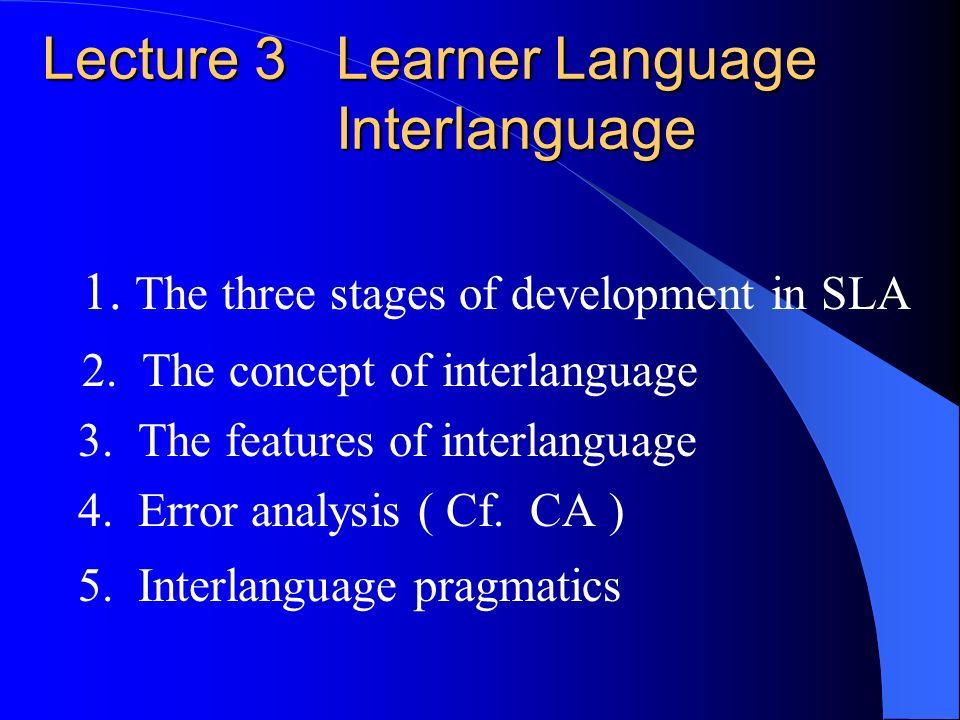 Lecture 3 Learner Language Interlanguage