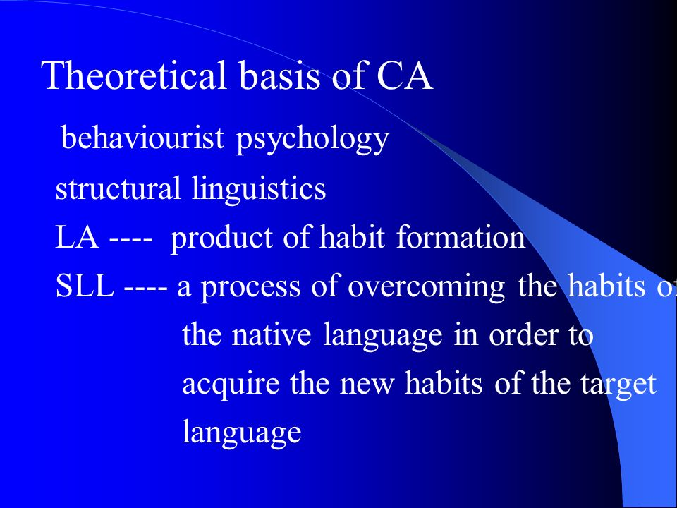 Theoretical basis of CA behaviourist psychology