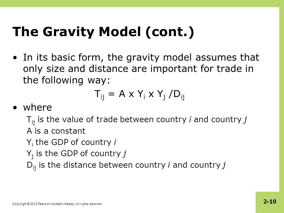 The Gravity Model (cont.)