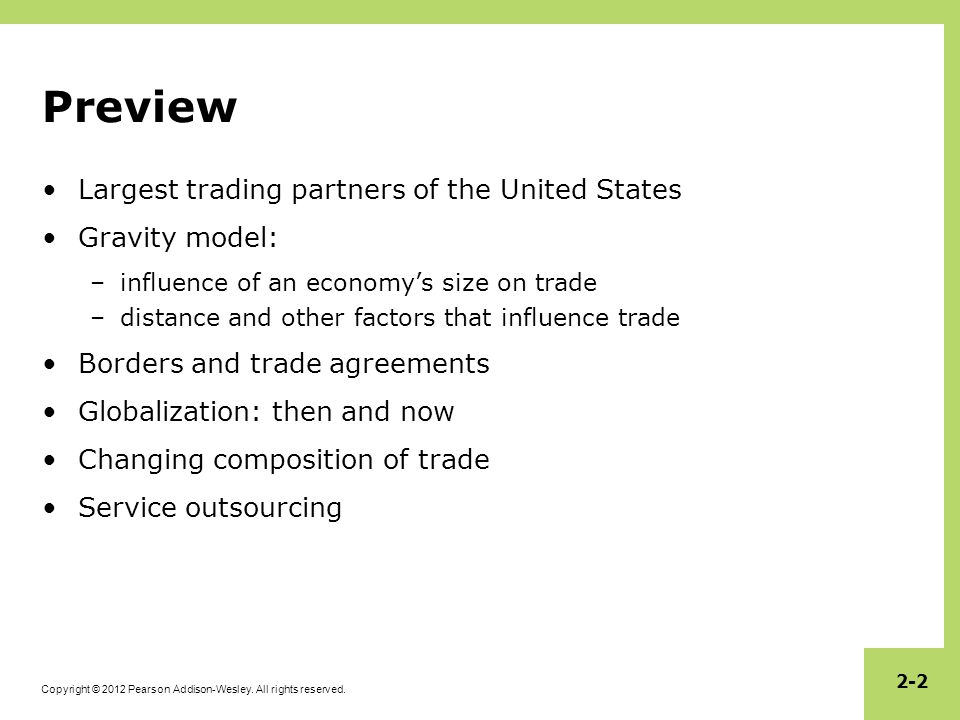 Preview Largest trading partners of the United States Gravity model: