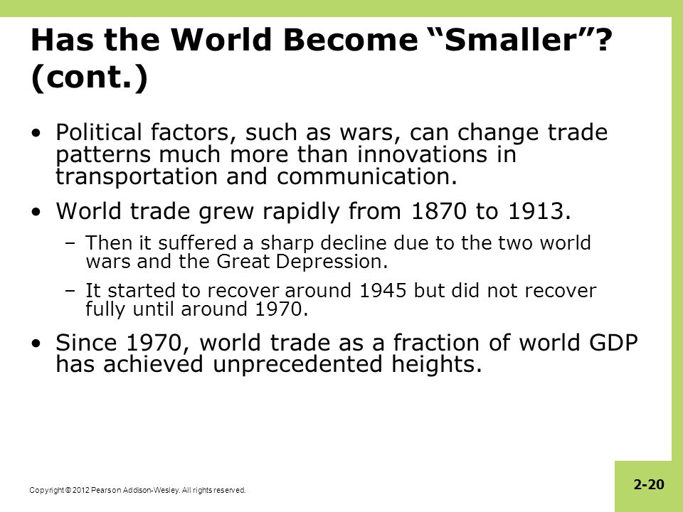 Has the World Become Smaller (cont.)