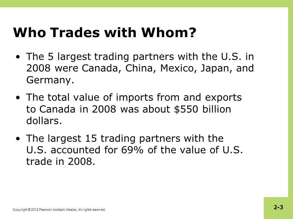 Who Trades with Whom The 5 largest trading partners with the U.S. in 2008 were Canada, China, Mexico, Japan, and Germany.