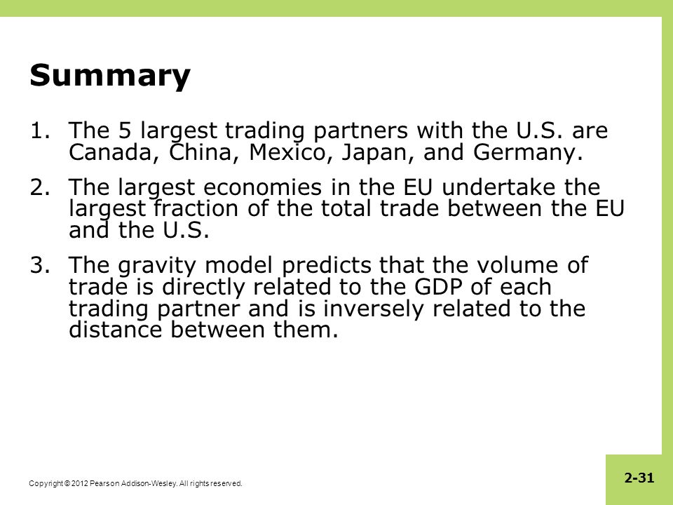 Summary The 5 largest trading partners with the U.S. are Canada, China, Mexico, Japan, and Germany.
