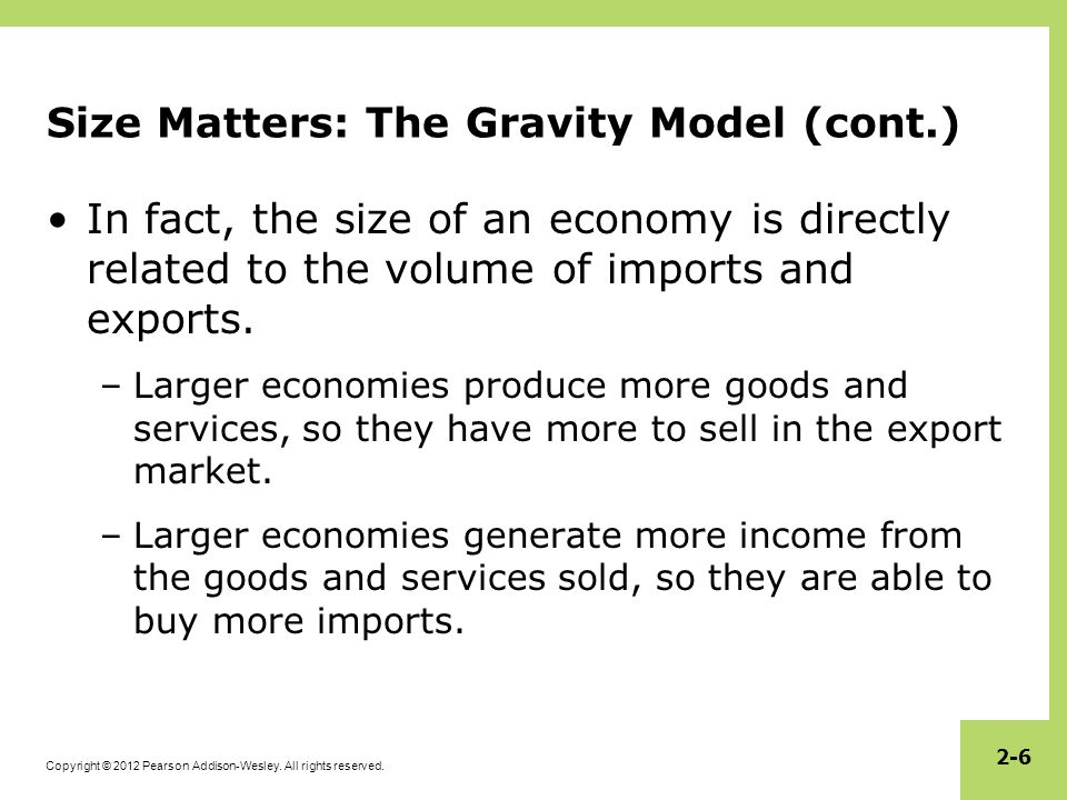 Size Matters: The Gravity Model (cont.)