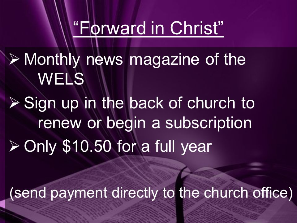 (send payment directly to the church office)