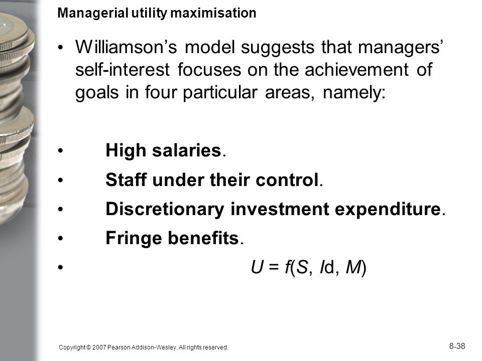 the managerial utility maximisation model Outline briefly the managerial criticisms of the profit maximising firm - compare and contrast the neo-classical profit maximising model with the management model of baumol unmodified neoclassical approach is characterised by an ideal market with firms for which profit maximisation is the single determinant of behaviour.