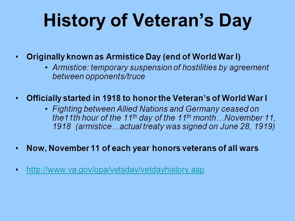 History of Veteran's Day