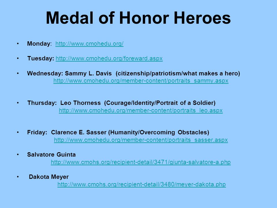 Medal of Honor Heroes Monday: http://www.cmohedu.org/