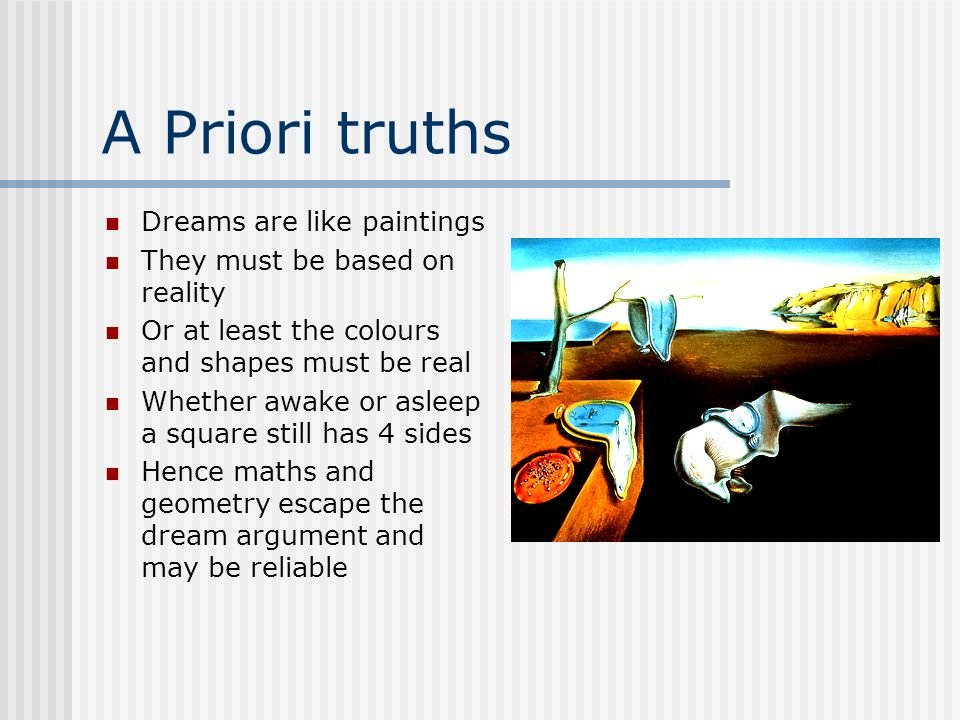 A Priori truths Dreams are like paintings