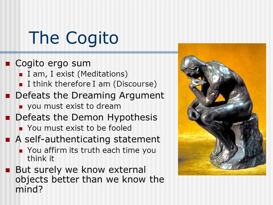 The Cogito Cogito ergo sum Defeats the Dreaming Argument
