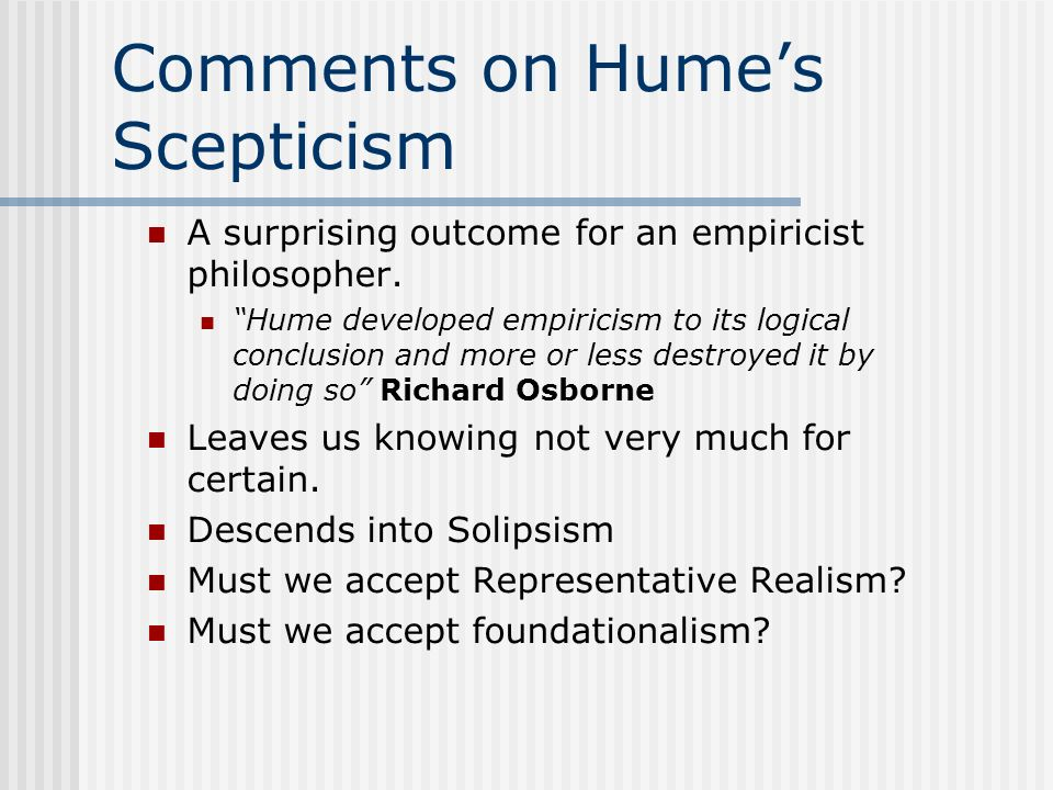 Comments on Hume's Scepticism