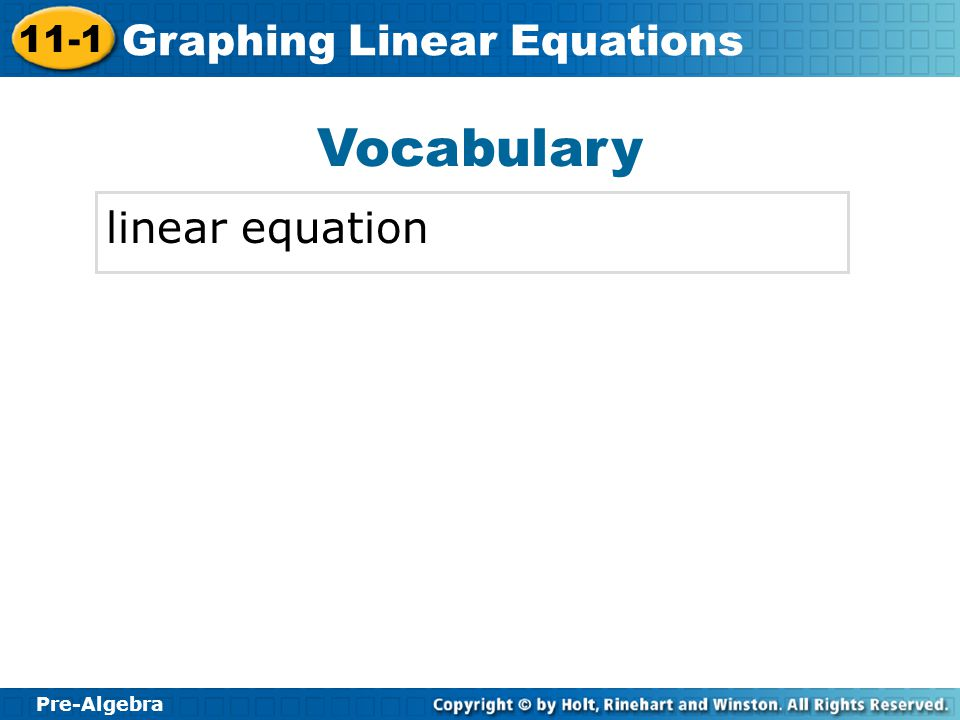 Vocabulary linear equation