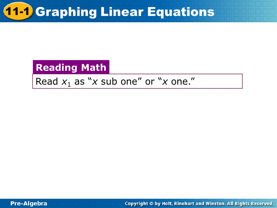 Reading Math Read x1 as x sub one or x one.