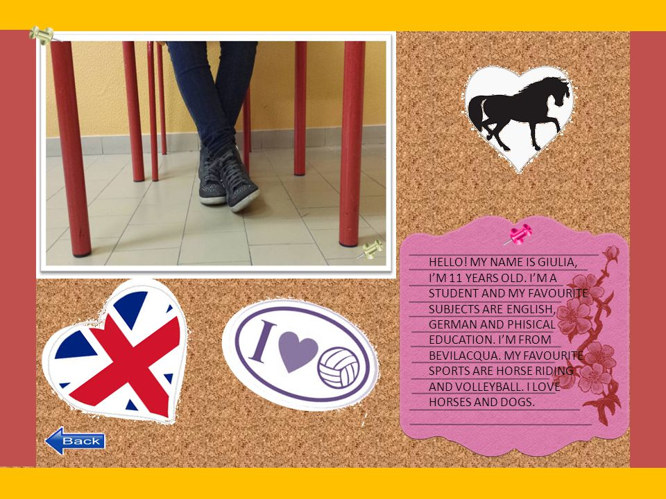 HELLO! MY NAME IS GIULIA, I'M 11 YEARS OLD. I'M A. STUDENT AND MY FAVOURITE. SUBJECTS ARE ENGLISH,
