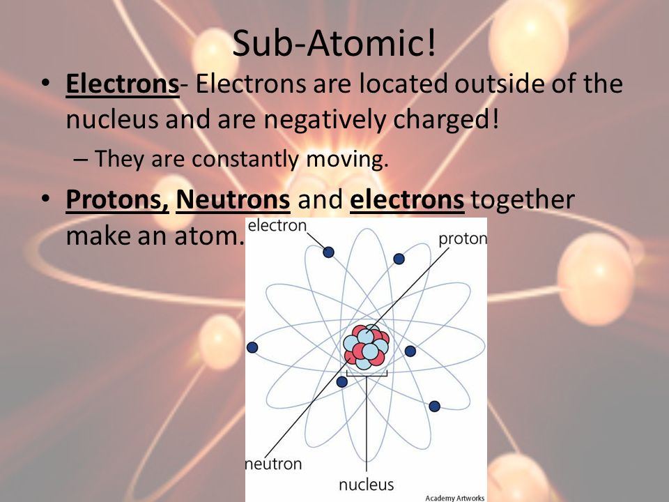 Sub-Atomic! Electrons- Electrons are located outside of the nucleus and are negatively charged! They are constantly moving.