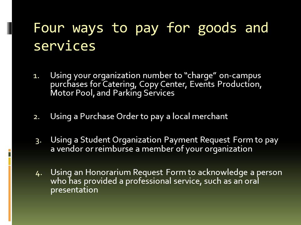 Four ways to pay for goods and services
