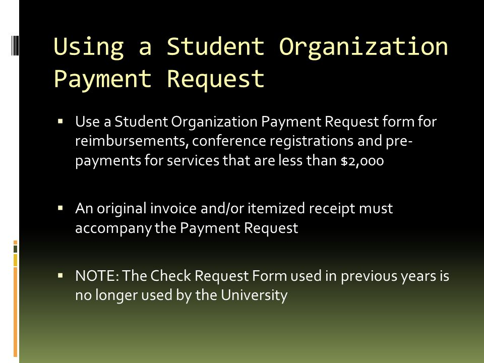 Using a Student Organization Payment Request