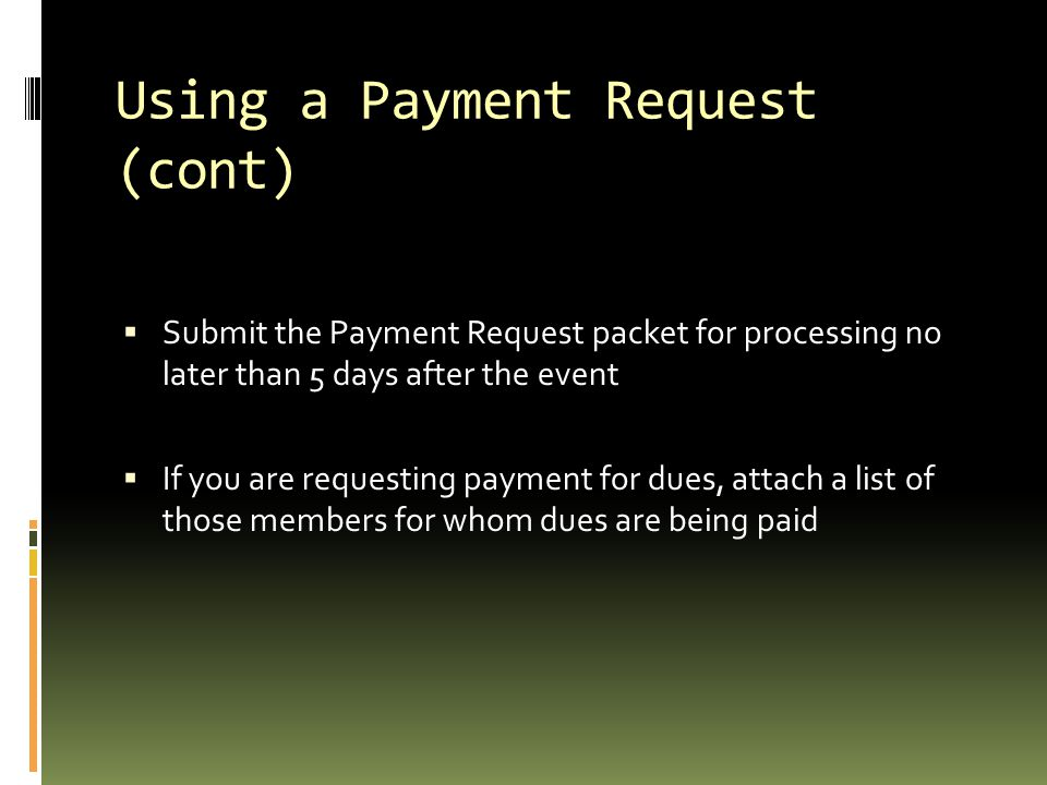 Using a Payment Request (cont)