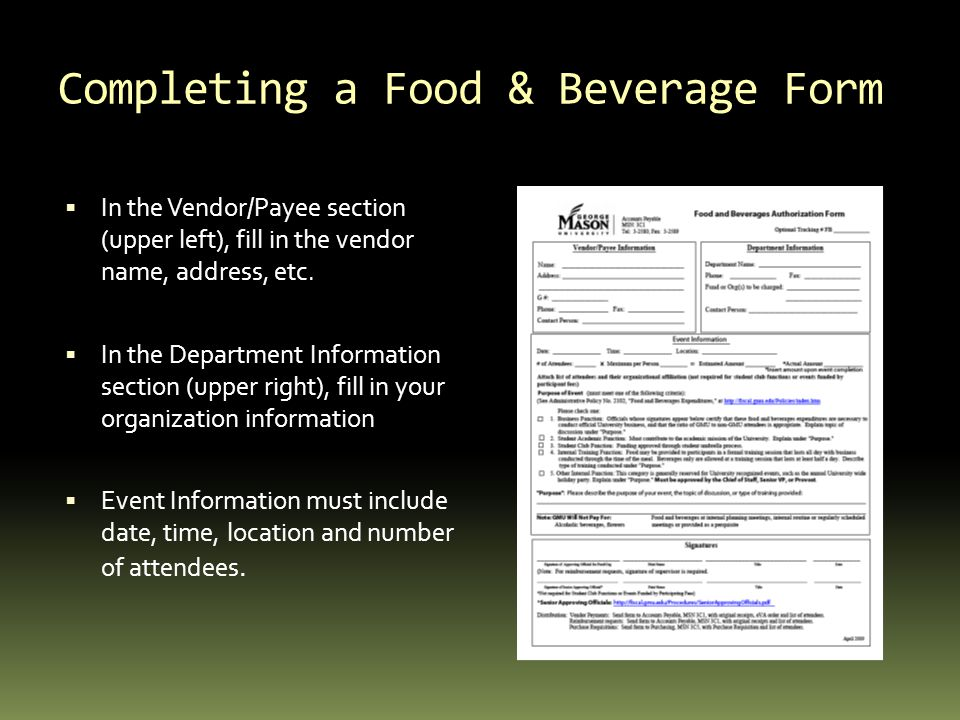 Completing a Food & Beverage Form