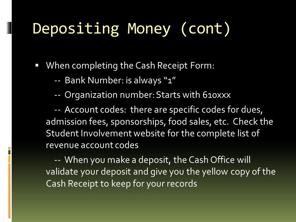 Depositing Money (cont)