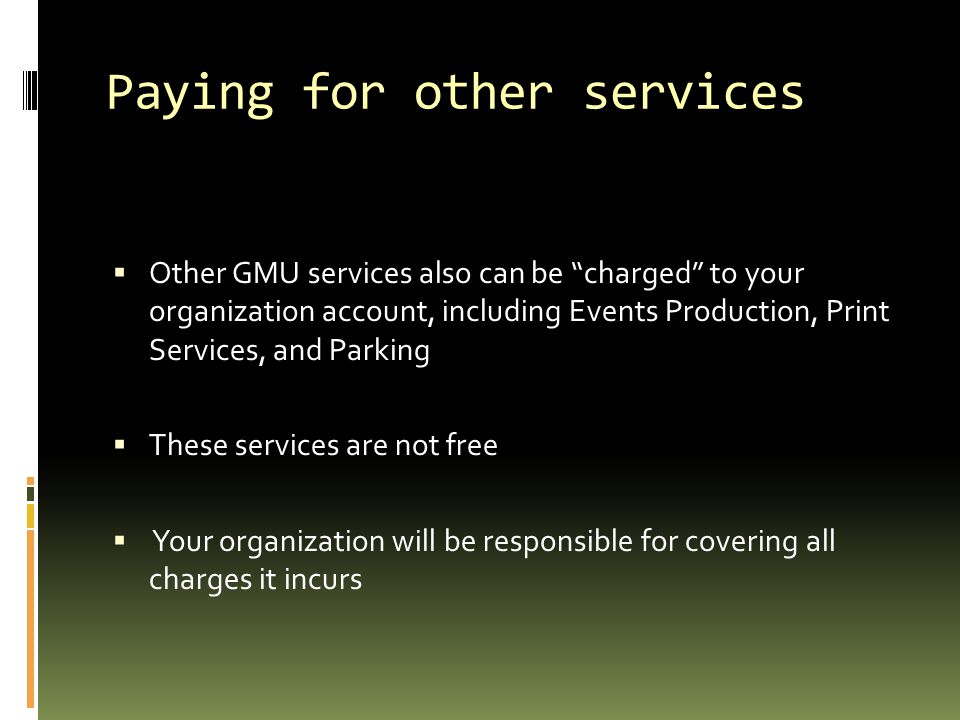 Paying for other services