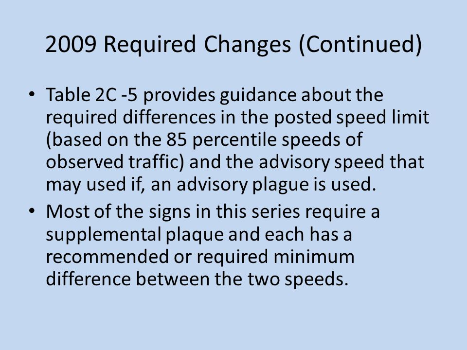 2009 Required Changes (Continued)