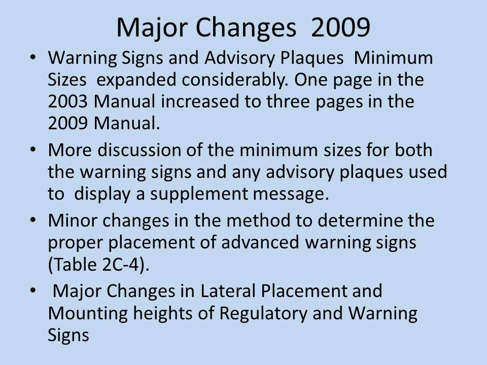Major Changes 2009