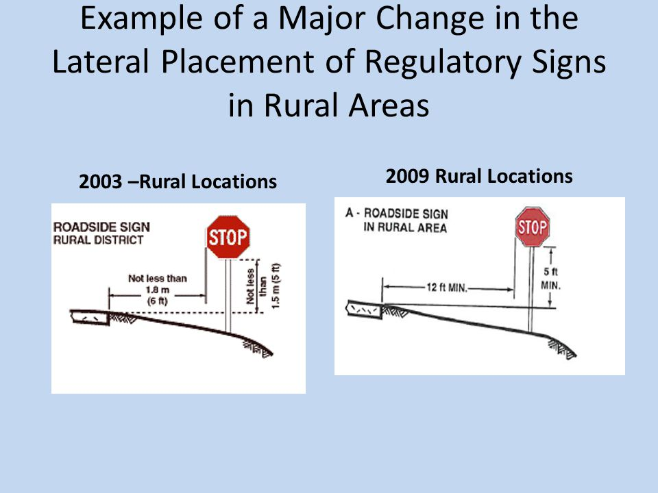 Example of a Major Change in the Lateral Placement of Regulatory Signs in Rural Areas