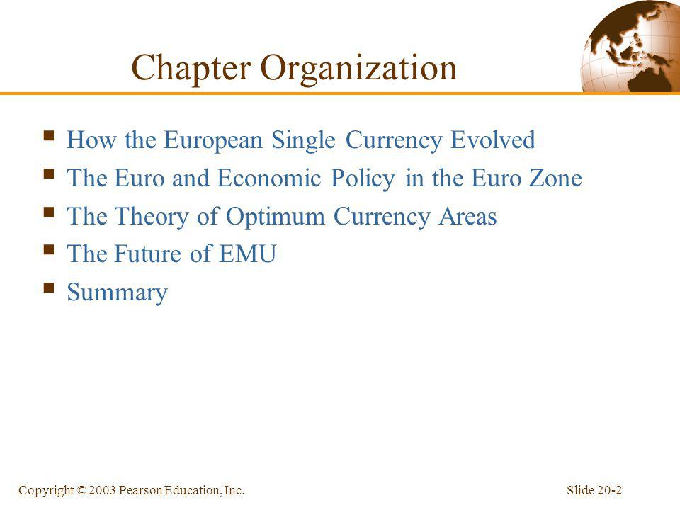 Chapter Organization How the European Single Currency Evolved