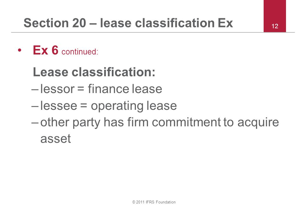 Section 20 – lease classification Ex
