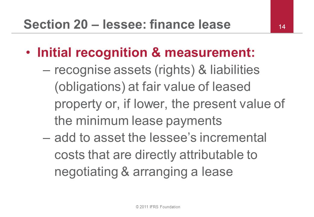 Section 20 – lessee: finance lease
