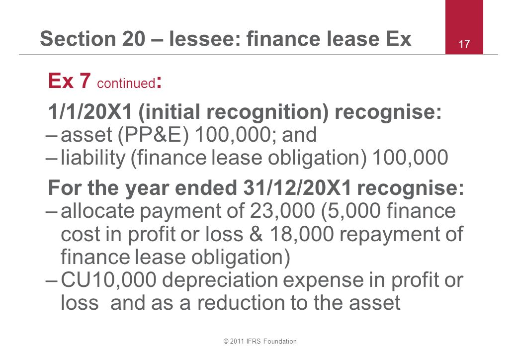 Section 20 – lessee: finance lease Ex