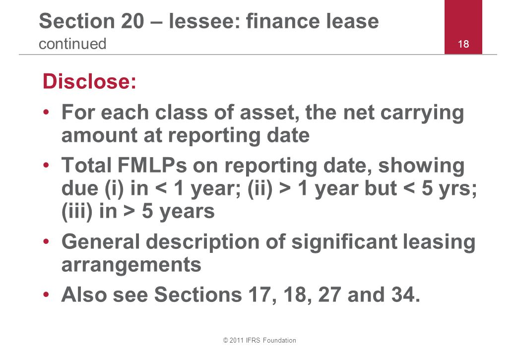 Section 20 – lessee: finance lease continued