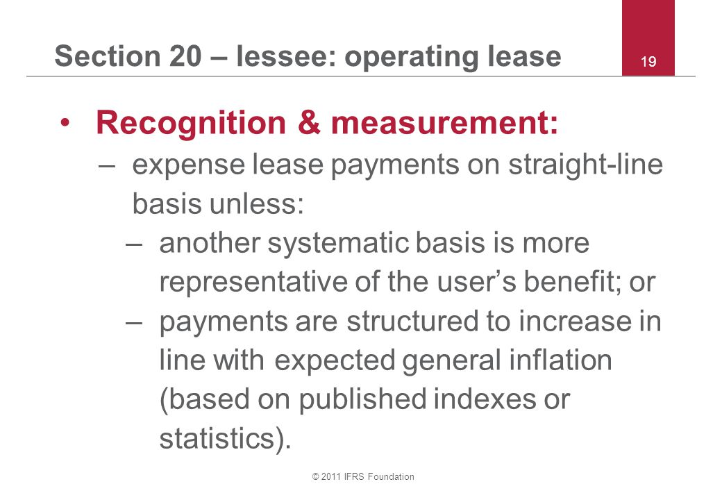 Section 20 – lessee: operating lease