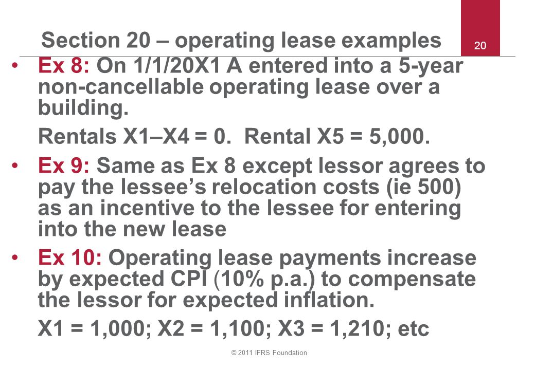 Section 20 – operating lease examples