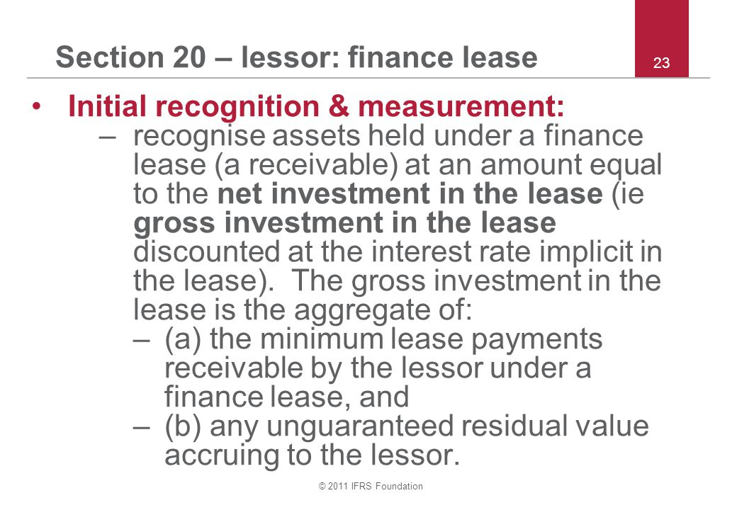 Section 20 – lessor: finance lease