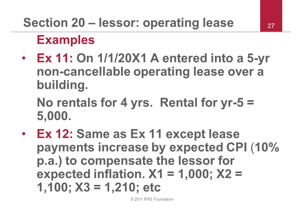 Section 20 – lessor: operating lease