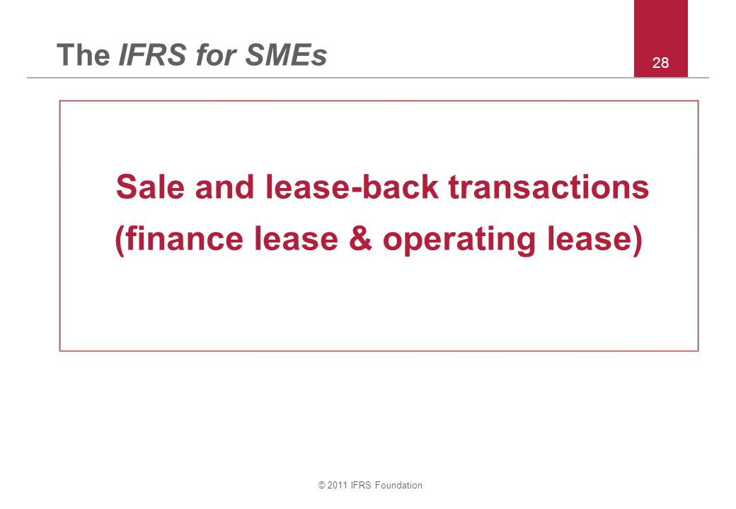 Sale and lease-back transactions (finance lease & operating lease)