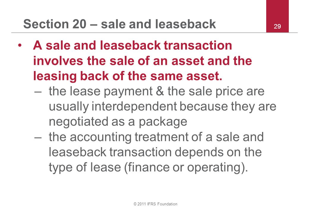 Section 20 – sale and leaseback