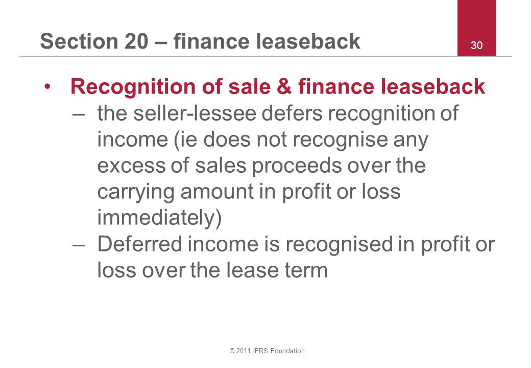 Section 20 – finance leaseback