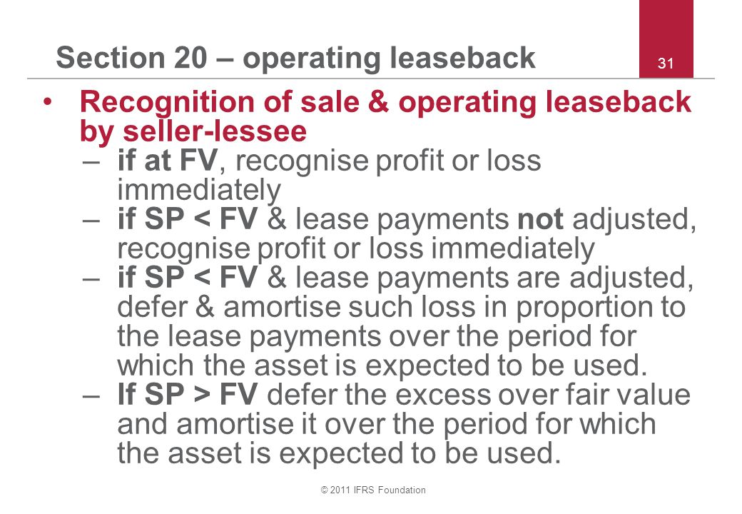 Section 20 – operating leaseback