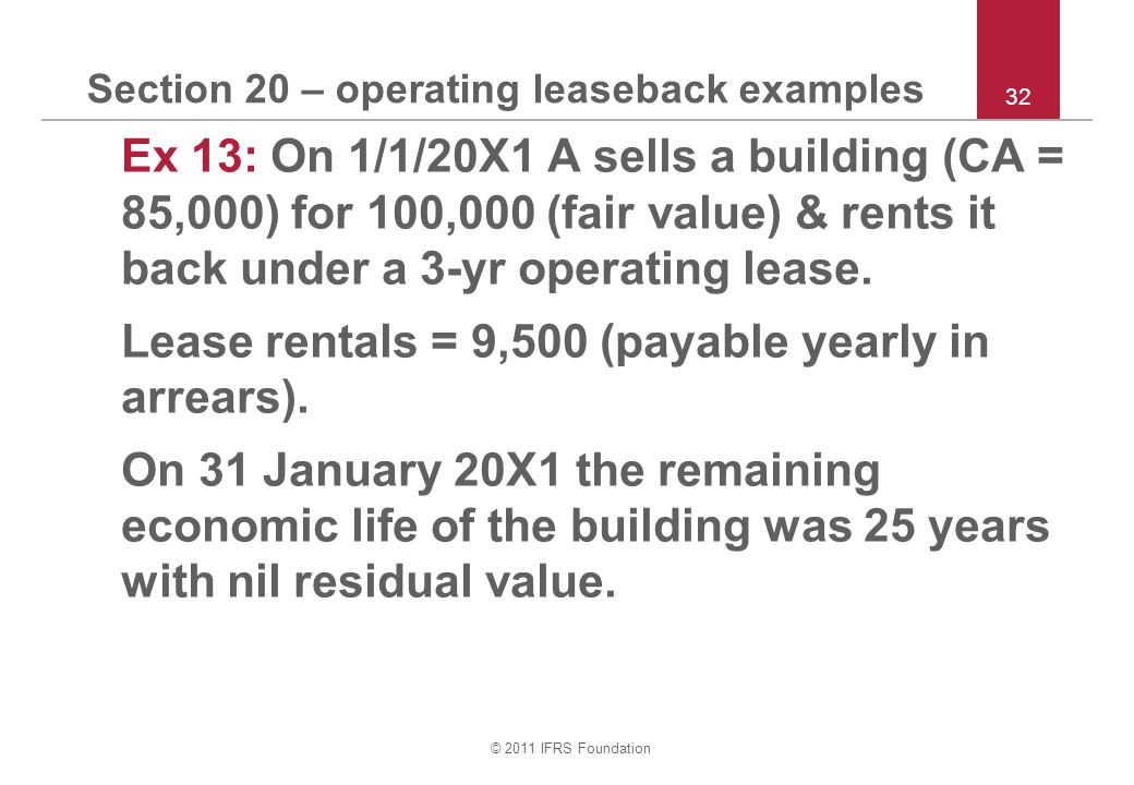 Section 20 – operating leaseback examples