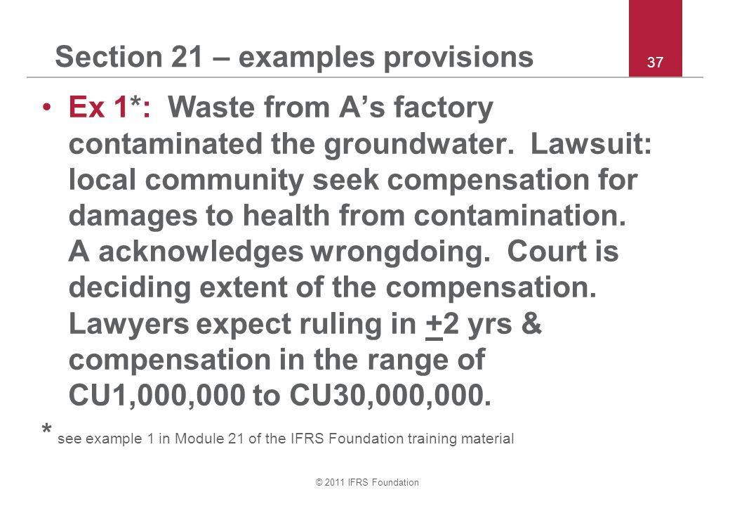 Section 21 – examples provisions