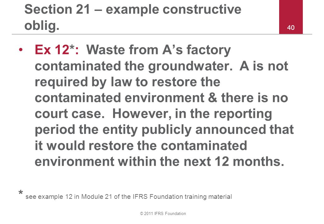 Section 21 – example constructive oblig.