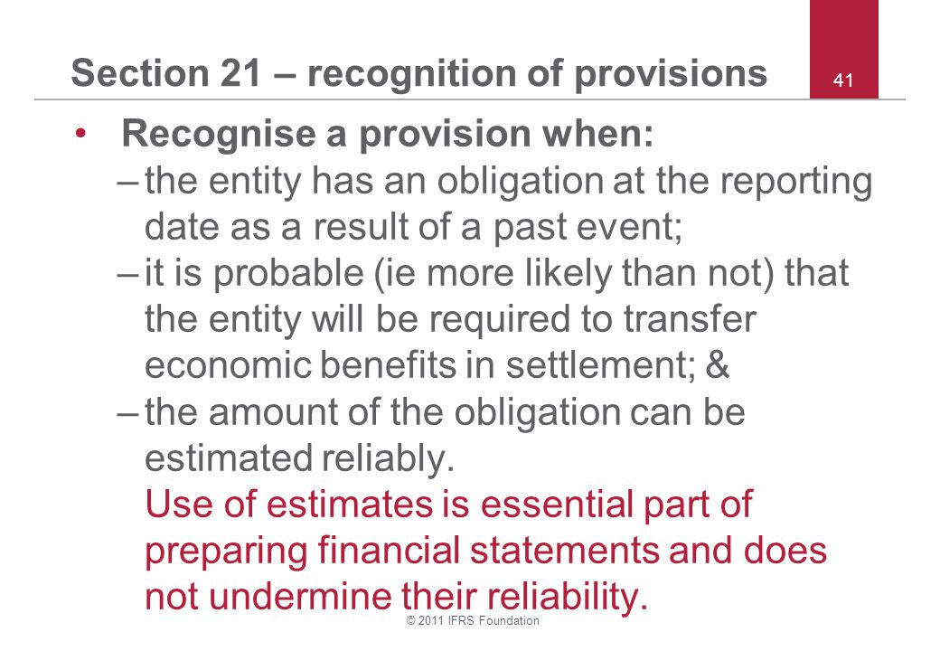 Section 21 – recognition of provisions