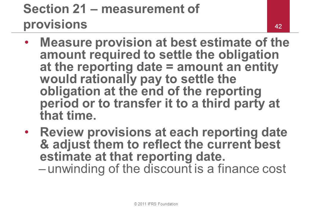 Section 21 – measurement of provisions