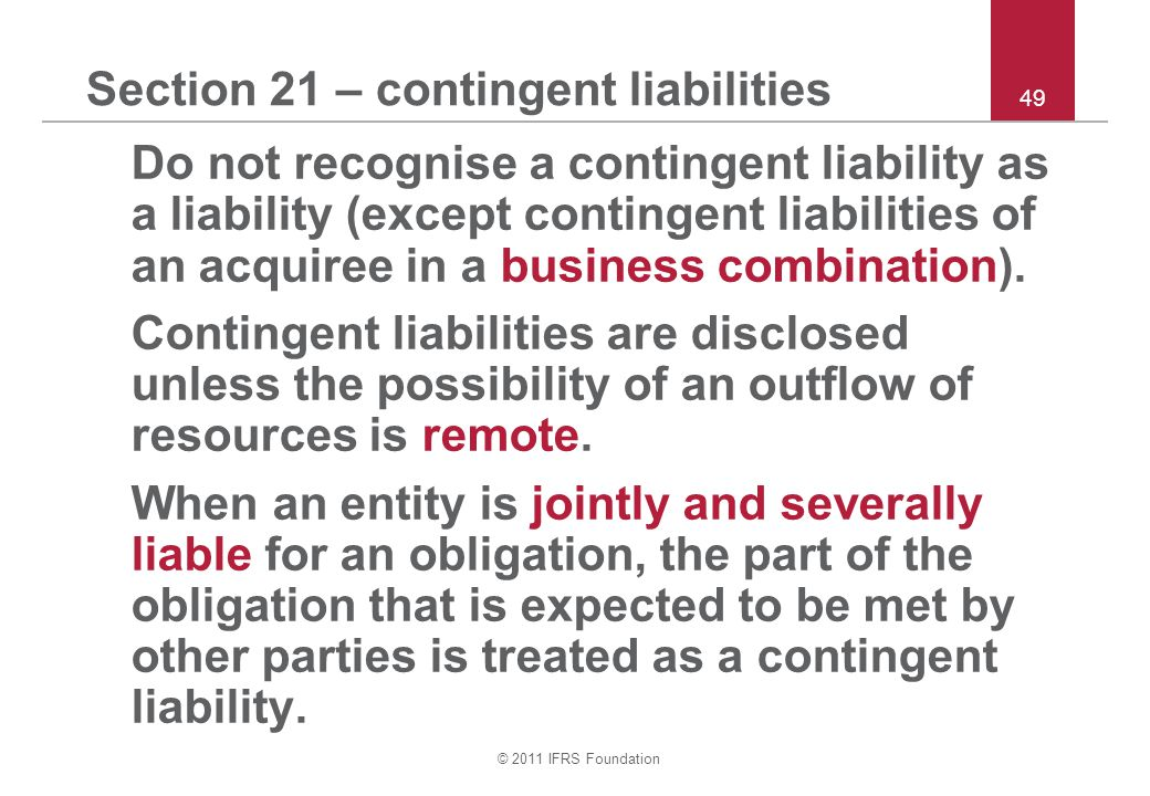 Section 21 – contingent liabilities