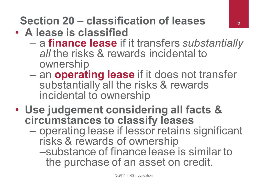 Section 20 – classification of leases