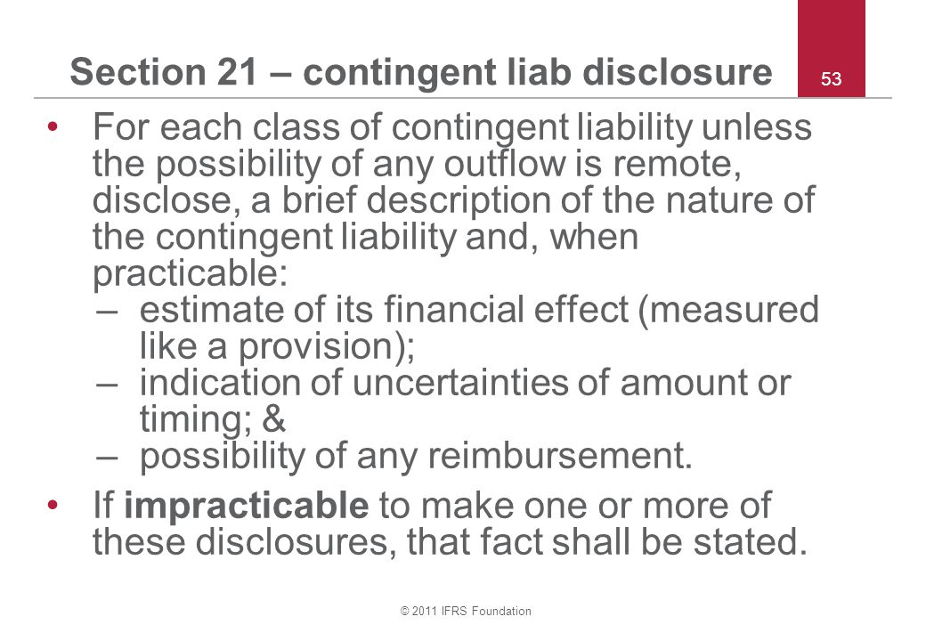 Section 21 – contingent liab disclosure