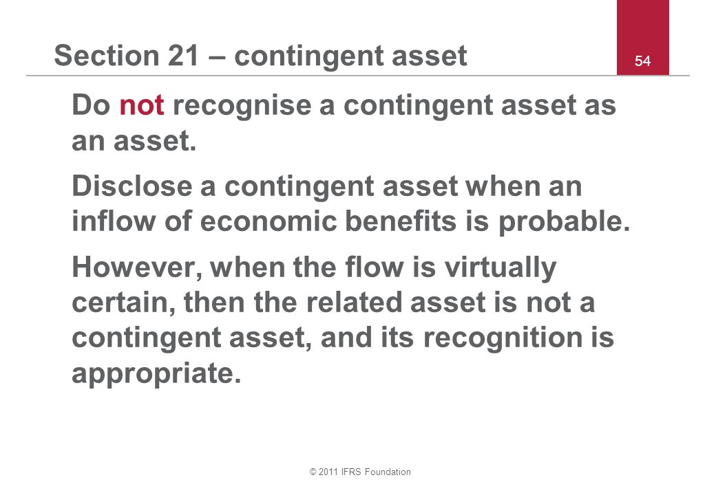 Section 21 – contingent asset
